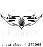Clipart Of Black And White Wings With A Circle 3 Royalty Free Vector Illustration by Vector Tradition SM