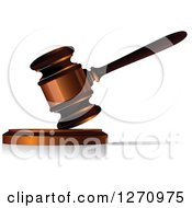Clipart Of A 3d Wood And Bronze Gavel Royalty Free Vector Illustration