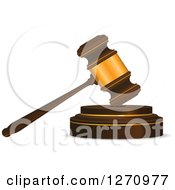 Clipart Of A 3d Wood And Gold Gavel Royalty Free Vector Illustration