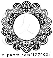 Clipart Of A Black And White Round Lace Frame Design 2 Royalty Free Vector Illustration