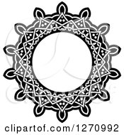 Clipart Of A Black And White Round Lace Frame Design 3 Royalty Free Vector Illustration