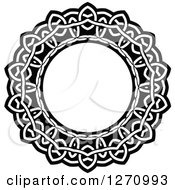 Clipart Of A Black And White Round Lace Frame Design 4 Royalty Free Vector Illustration