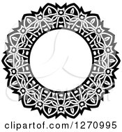 Clipart Of A Black And White Round Lace Frame Design 6 Royalty Free Vector Illustration