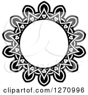 Clipart Of A Black And White Round Lace Frame Design 7 Royalty Free Vector Illustration