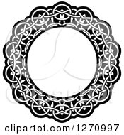 Clipart Of A Black And White Round Lace Frame Design 8 Royalty Free Vector Illustration