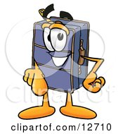 Clipart Picture Of A Suitcase Cartoon Character Pointing At The Viewer
