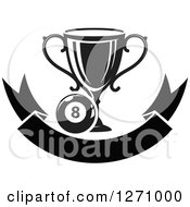 Clipart Of A Black And White Billiards Eight Ball With A Trophy Over A Blank Banner Royalty Free Vector Illustration by Vector Tradition SM