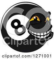 Clipart Of A Grinning Eightball Character Royalty Free Vector Illustration by Vector Tradition SM