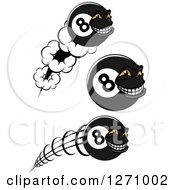 Clipart Of Grinning Eightball Characters Royalty Free Vector Illustration