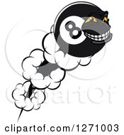 Clipart Of A Flying Grinning Eightball Character Royalty Free Vector Illustration