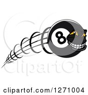 Clipart Of A Grinning Flying Eightball Character Royalty Free Vector Illustration
