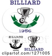 Clipart Of A Billiards Eight Balls And Trophy Cups With Text Royalty Free Vector Illustration