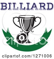 Clipart Of A Billiards Eight Ball With A Trophy And Text Over A Blank Green Banner Royalty Free Vector Illustration