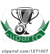 Clipart Of A Billiards Eight Ball With A Trophy Over A Blank Green Banner Royalty Free Vector Illustration
