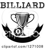 Clipart Of A Black And White Billiards Eight Ball With A Trophy With Text Over A Blank Banner Royalty Free Vector Illustration