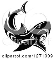 Clipart Of A Black And White Tribal Shark Royalty Free Vector Illustration