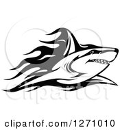 Clipart Of A Black And White Flaming Shark Royalty Free Vector Illustration
