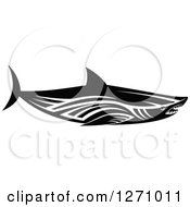 Clipart Of A Black And White Tribal Shark 2 Royalty Free Vector Illustration