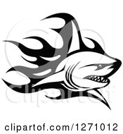 Clipart Of A Black And White Flaming Shark 2 Royalty Free Vector Illustration