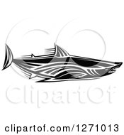 Clipart Of A Black And White Tribal Shark 3 Royalty Free Vector Illustration