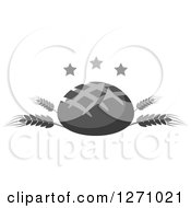 Clipart Of A Grayscale Round Bread Loaf On Wheat Stalks With Stars Royalty Free Vector Illustration