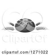 Clipart Of A Grayscale Round Bread Loaf On Wheat Stalks Royalty Free Vector Illustration