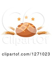 Clipart Of A Round Bread Loaf On Wheat Stalks With Stars Royalty Free Vector Illustration