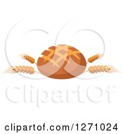 Clipart Of A Round Bread Loaf On Wheat Stalks Royalty Free Vector Illustration