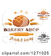 Clipart Of Round Bread Loaves With Wheat Stalks Stars Text And Rolling Pins Royalty Free Vector Illustration