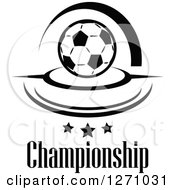 Black And White Soccer Ball With Swooshes Stars And Championship Text