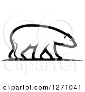 Clipart Of A Black And White Walking Polar Bear In Profile Royalty Free Vector Illustration