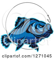 Clipart Of A Blue Fish And Hook With Line Royalty Free Vector Illustration