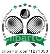 Clipart Of A Black And White Tennis Ball Over Crossed Rackets In A Circle With Stars And A Blank Green Banner Royalty Free Vector Illustration