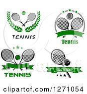 Clipart Of Black And White And Green Tennis Balls Rackets And Banners Royalty Free Vector Illustration