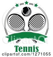 Clipart Of A Black And White Tennis Ball Over Crossed Rackets In A Circle With Greeb Stars A Blank Banner Over Text Royalty Free Vector Illustration