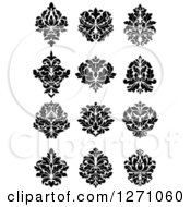 Clipart Of Black And White Arabesque Damask Designs 5 Royalty Free Vector Illustration