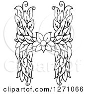 Clipart Of A Black And White Floral Capital Letter H With A Flower Royalty Free Vector Illustration