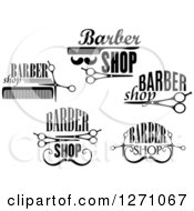 Clipart Of Black And White Barber Shop Designs 2 Royalty Free Vector Illustration by Vector Tradition SM
