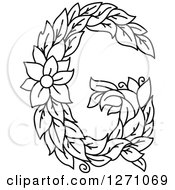 Clipart Of A Black And White Floral Capital Letter G With A Flower Royalty Free Vector Illustration