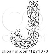 Clipart Of A Black And White Floral Capital Letter J With A Flower Royalty Free Vector Illustration