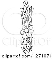 Clipart Of A Black And White Floral Capital Letter I With A Flower Royalty Free Vector Illustration