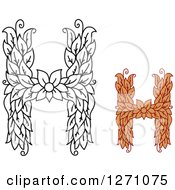 Clipart Of Floral Capital Letter H Designs With A Flowers Royalty Free Vector Illustration