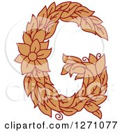 Clipart Of A Floral Capital Letter G With A Flower Royalty Free Vector Illustration