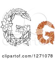 Clipart Of Floral Capital Letter G Designs With A Flowers Royalty Free Vector Illustration