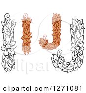 Clipart Of Floral Capital Letter I And J Designs With A Flowers Royalty Free Vector Illustration