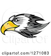 Clipart Of A Gray And White Bald Eagle Head With A Yellow Beak In Profile Royalty Free Vector Illustration