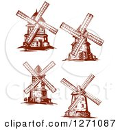Clipart Of Brown Vintage Windmills Royalty Free Vector Illustration by Vector Tradition SM
