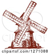 Clipart Of A Brown Vintage Windmill Royalty Free Vector Illustration