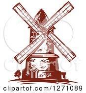 Poster, Art Print Of Brown Vintage Windmill 2