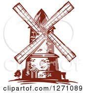 Clipart Of A Brown Vintage Windmill 2 Royalty Free Vector Illustration